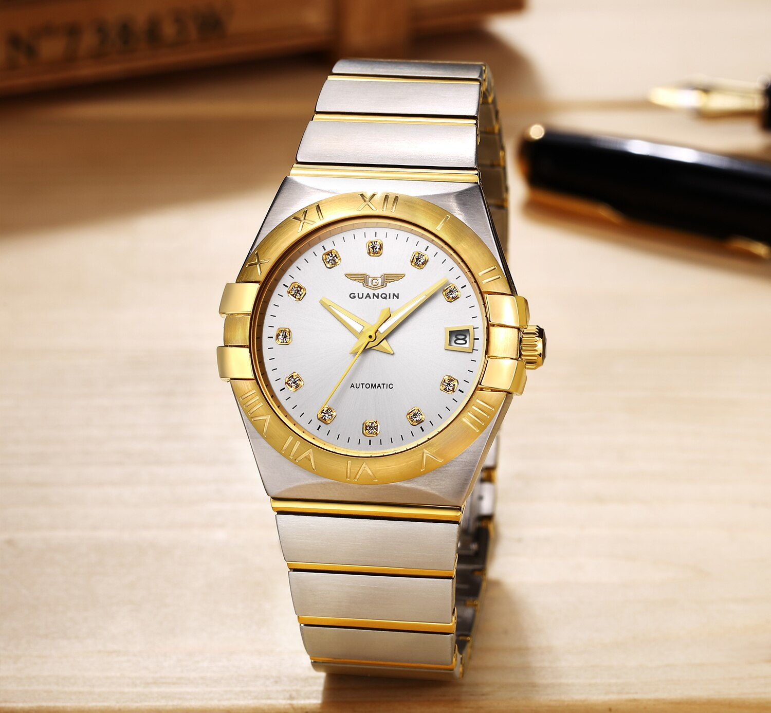 Guanqin Design Luxury Men Watches Mechanical Automatic Gold Watch 30m Waterproof Casual Constellatio
