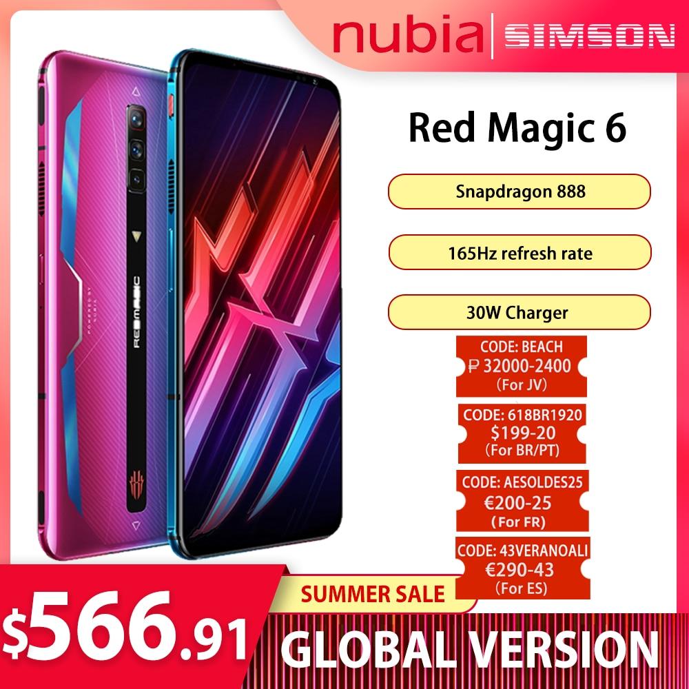 Глобальная версия Nubia RedMagic 6 Snapdragon 888 телефон 5050 мАч Google Play 30 Вт супер зарядное устройство