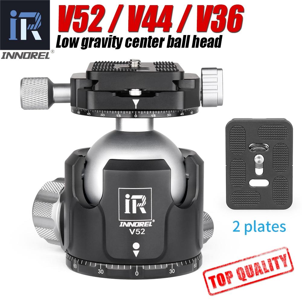 INNOREL V52 / V44 / V36 ترايبود منخفضة الجاذبية مركز المزدوج بانورامية الكرة رئيس لكاميرات SLR الرقمية ، مع لوحة الإفراج السريع