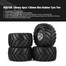 2019 AUSTAR 4pcs AX-3003 130mm Rim Rubber Tyre Tire Wheel Plastic Hub for 1/10 RC Big Feet Model HSP HPI Beadlock Spare Parts fz