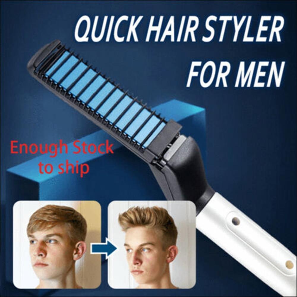 Hot Men Quick Beard Straightener Styler Comb Multifunctional Hair Curling Curler Show Cap Tool Drop