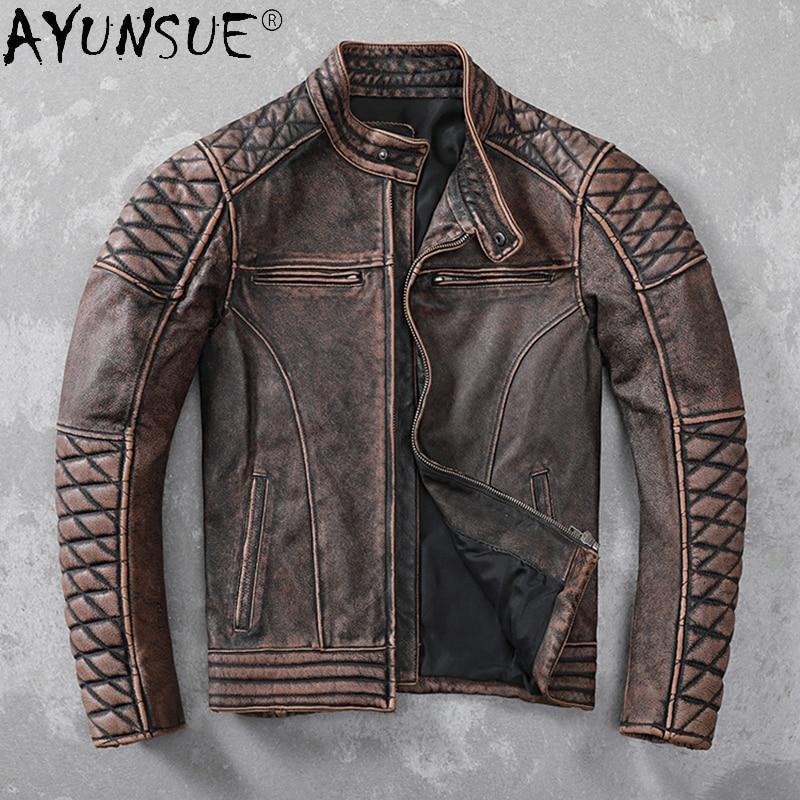 Ayunsu الرجعية جلود الأبقار الأصلية سترة الرجال الملابس دراجة نارية رجالي جاكيتات الدراجة معطف الذكور الخريف الملابس Veste LXR678