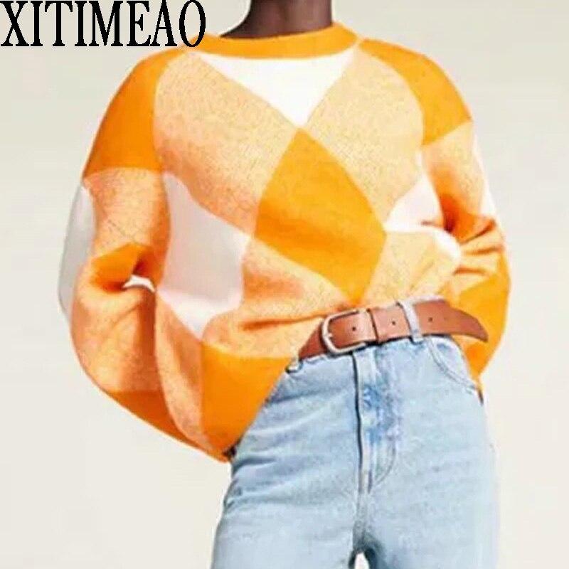 Женский вязаный свитер в клетку Za, Свободный пуловер с круглым вырезом, со стразами, Осень-зима