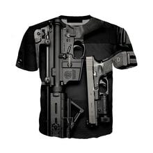 Nouveau été 3D pistolet t-shirts drôle 3d imprimé Streetwear Beretta pistolet t-shirt mode décontracté à manches courtes Punk pistolet 3d t-shirts