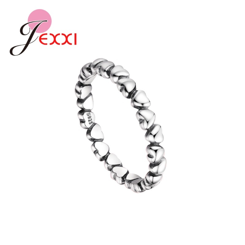 Hot Selling Genuine 925 Sterling Silver Finger Classic Ring For Women Wedding Jewelry Accessory Heart Multiple Small Shape