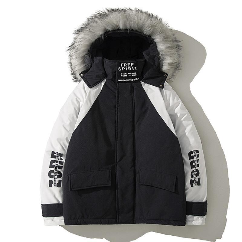 Зимняя Теплая мужская куртка с большим меховым воротником средней длины хлопковая стеганая куртка мужская стеганая куртка с капюшоном сте...