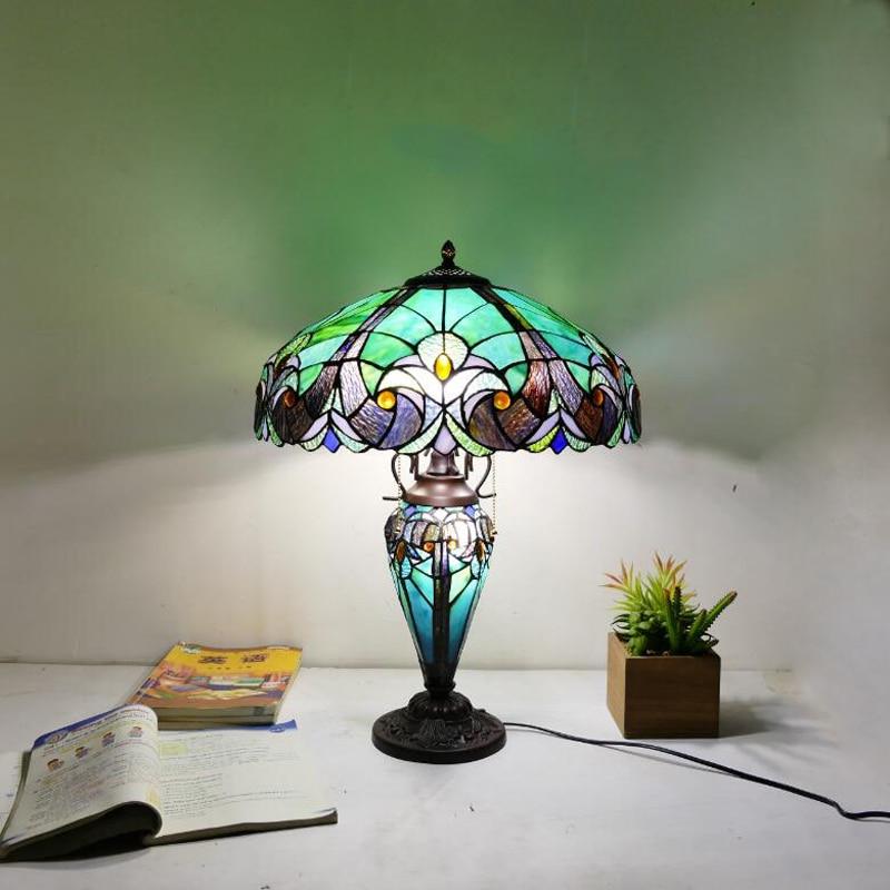 E27 مصباح طاولة كبير على الطراز الأوروبي ، أخضر ، فاخر ، 18 بوصة ، لغرفة المعيشة ، البار ، غرفة المعيشة ، تصميم ريترو