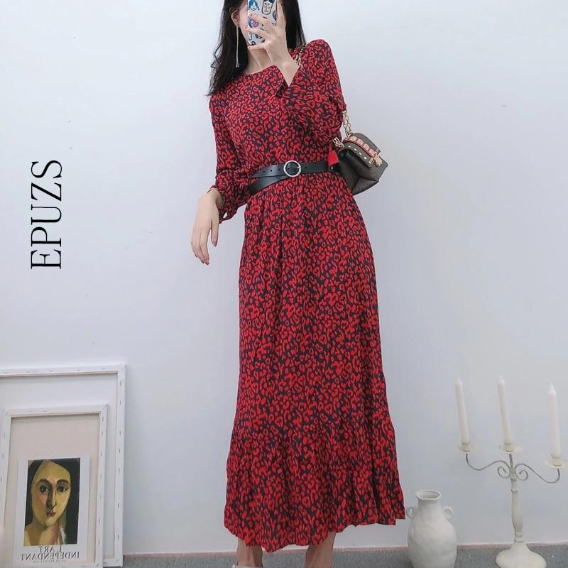 Vintage boho rojo vestido de leopardo de las mujeres otoño plisado largo manga vestido casual vestido suelto de largo de oficina vestido vestidos de talla grande 2019