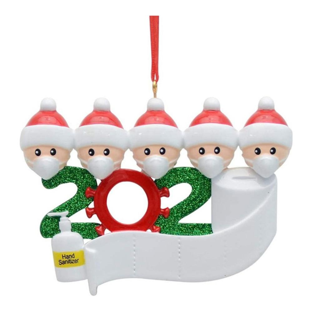 2020 DIY Christmas Quarantine Decoration Santa Claus Personalized Hanging Pendants Party Distancing Santa Claus Ornament Gift недорого