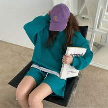 Two Piece Set For Women Autumn Spring Loose Sweatshirt Pullover Tops High Waist Shorts Casual Sport