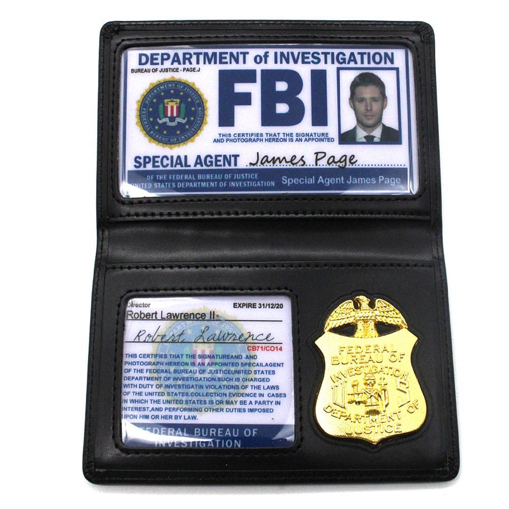 Juguetes de juegos para niños, Dean de Supernatural Sam Winchester, placa de Metal FBI, portatarjetas, portatarjetas de identificación de policía, Billeteras