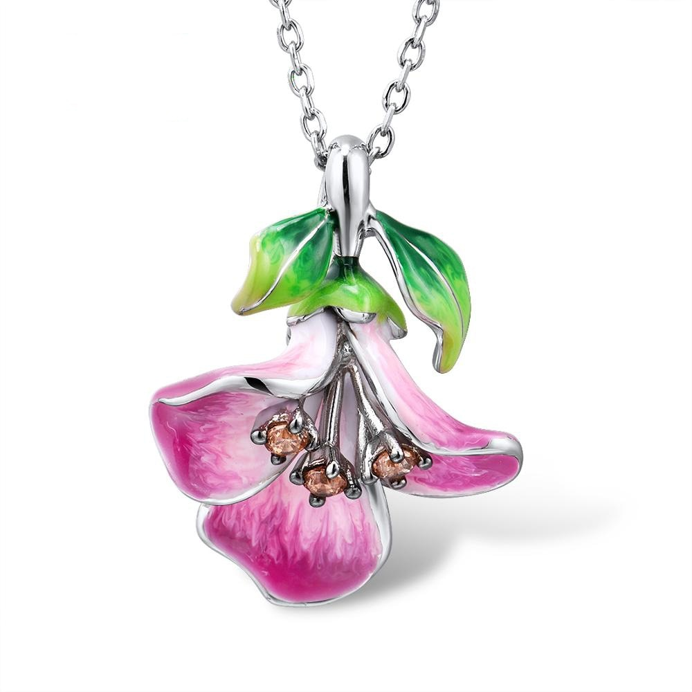 Nueva llegada de 2020 COLLAR COLGANTE de abalorios de plata con flor de la mañana para mujer, elegante collar de clavícula de boda con esmalte rosa