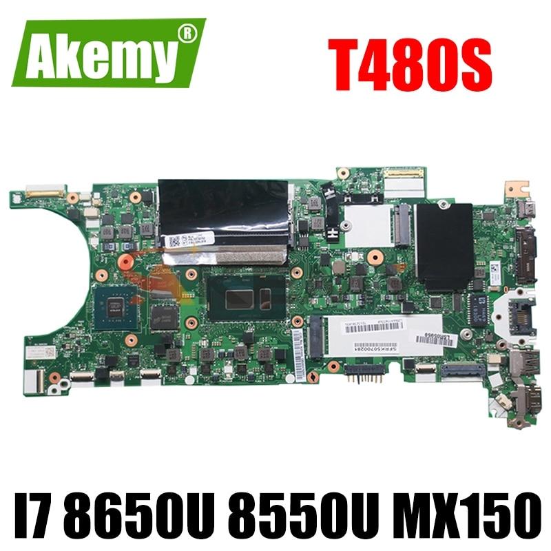 لينوفو ثينك باد T480S اللوحة الأم للكمبيوتر المحمول NM-B471 مع وحدة المعالجة المركزية i7 8650U 8550U MX150 GPU 8GB-RAM اختبار 100% اللوحة الرئيسية العمل