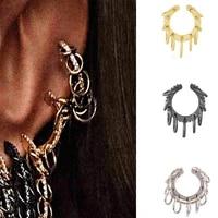 itenice punk circle earcuffs women boho statement rhinestone clip earrings crystal individuality metal ear cuff jewelry