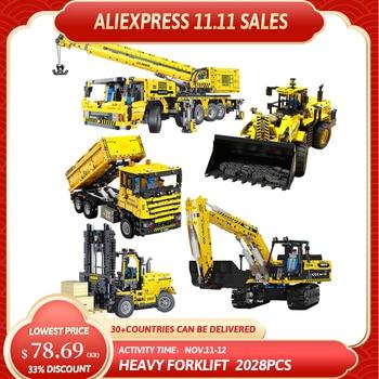 Creative Expert Rc Engineering Car Excavator Crane Loader Trucks Moc Bricks Modular Technical Model Building Blocks Toys T4001