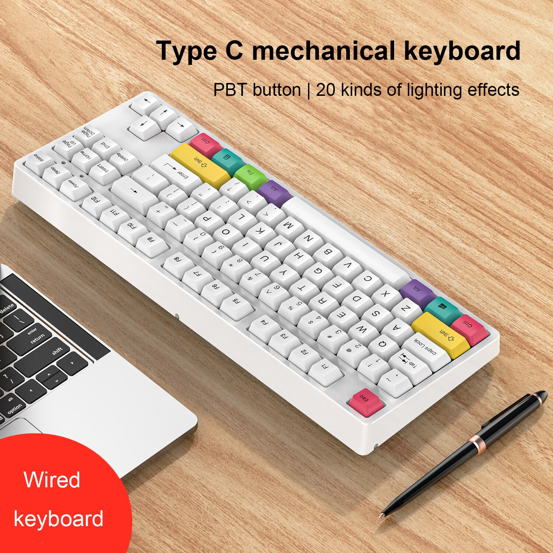 لوحة مفاتيح الألعاب الميكانيكية 87 مفاتيح لعبة أزرق أحمر بني التبديل اللون الخلفية السلكية لوحة المفاتيح للمحترفين ألعاب كمبيوتر محمول