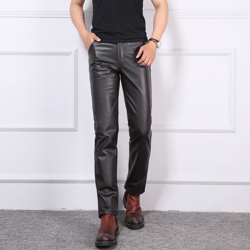 Youth Leather Pants 2021 Spring Autumn Men New Slim Genuine Leather Pants The First Layer Cowhide Leather Pants Casual Trousers