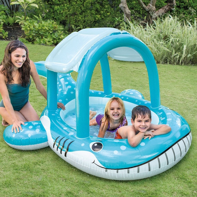 Baby Swimming Ring Toys Inflatable Floating Kids Swim Pool Seat with Sunshade Canopy Safety Summer Swimming Pool Accessories