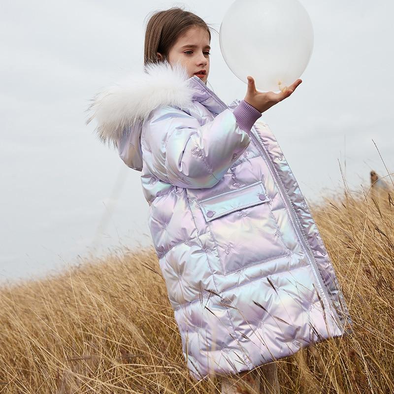 الفتيات أبلى و معاطف أسفل سترة لامعة للأطفال 90% الأبيض بطة أسفل سترة رشاقته الدافئة الشتاء الملابس صالح الارتفاع 110-155 سنتيمتر