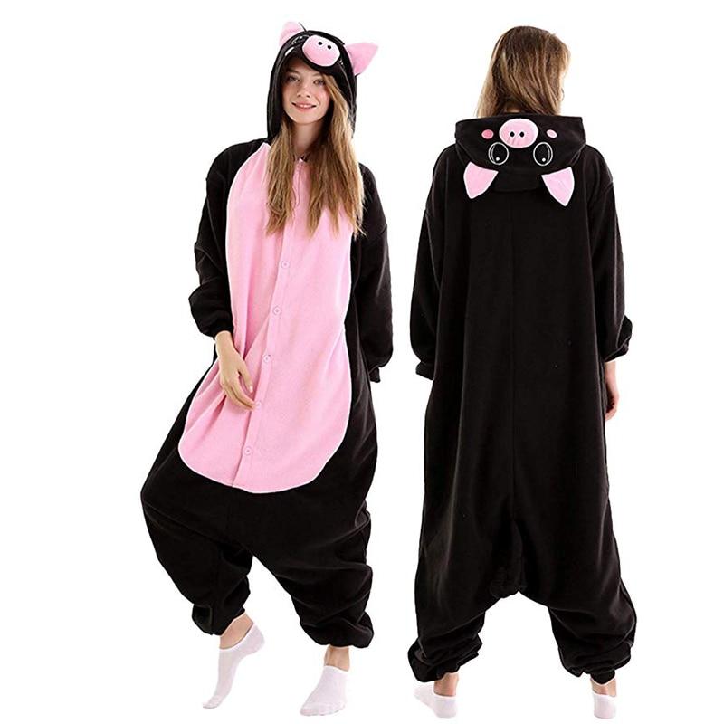 للجنسين الخنزير الأسود للكبار الصوف الكرتون الحيوان نيسيي رجل المنزل تأثيري ملابس المنزل قطعة واحدة رومبير الراكون Kigurumi