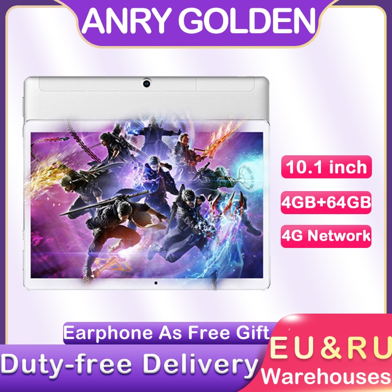 ANRY 10 inch Android Tablet 4GB RAM 64GB ROM Bluetooth 4G LTE Dual Sim Phone Call WiFi Bluetooth 10.1'' Tablets PC GPS Tab