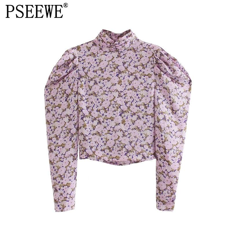 PSEEWE Za Women Blouse Floral Crop Top Female Pink High Neck Puff Sleeve Top Woman 2021 Fall Vintage High Street Elegant Blouses