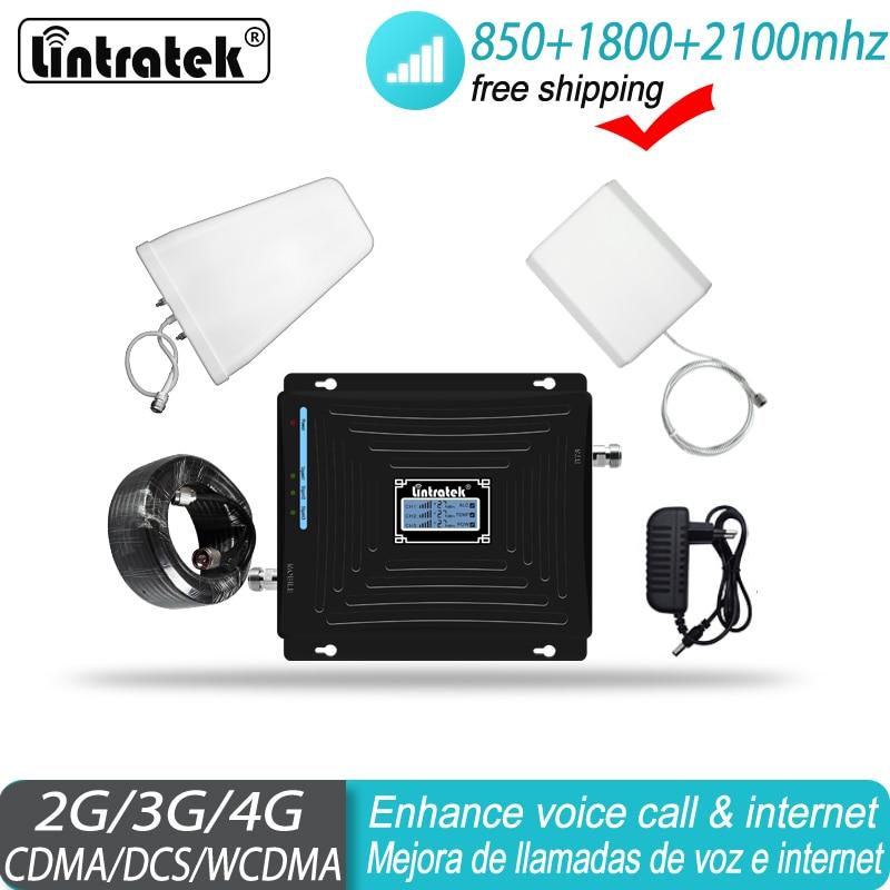 Repetidor de señal Lintratek 850 1800 2100MHz teléfono celular ALC 2G 3G 4G amplificador de refuerzo GSM llamada WCDMA LTE amplificador #47