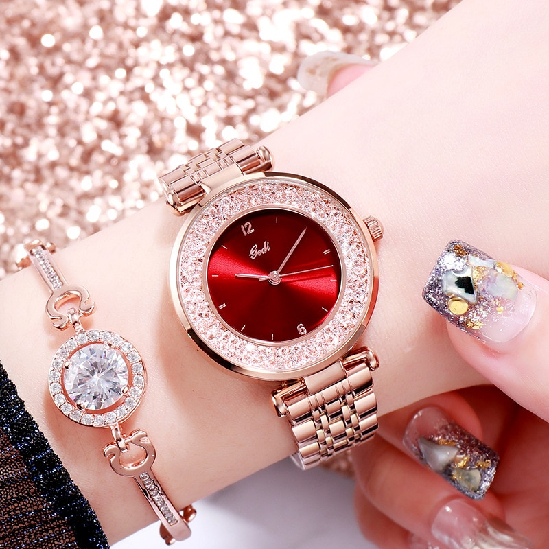 Fashion Dress Women's Watches Luxury Brand Waterproof Steel Strap Rose Gold Red Wristwatches Casual