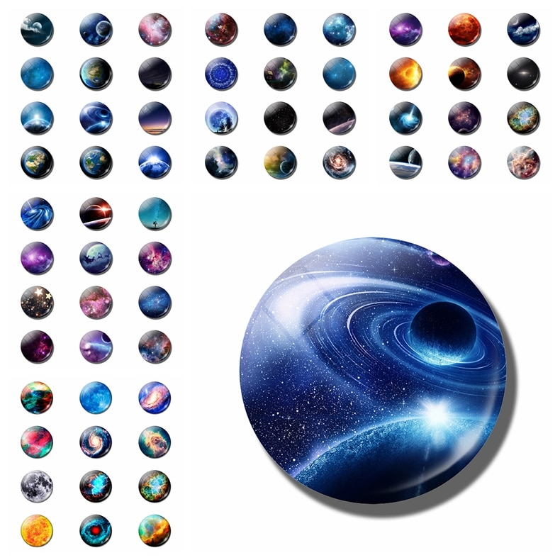 12 шт. магнит на холодильник звездное пространство 25 мм, Выпуклое стекло, круглая наклейка на холодильник, доска сообщений, наклейка на холодильник, украшение дома