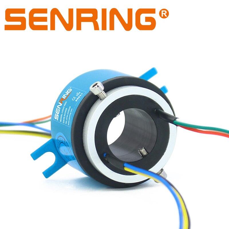 ثقب رمح موصل زلة حلقة ثقب تتحمل Sliprings ثقب حجم 20 مللي متر OD42mm 6/12 الدوائر 5A إشارات انتقال
