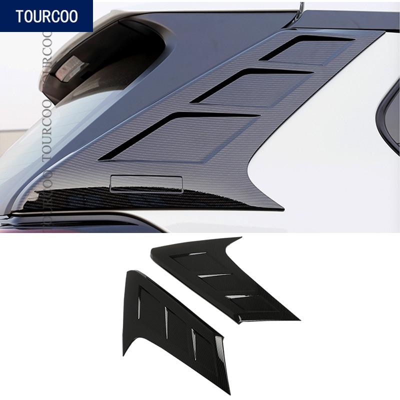 Para Toyota RAV4 2019 2020 alerón trasero triángulo moldura cubierta Kit embellecedor ABS cromo Exterior decorativa pegatina