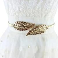 new fashion women luxury goldsilver leaves metal buckle female decorative elastic thin belt waist chain belts belts c8p6