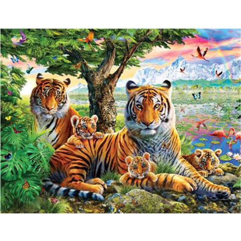 Pintura de diamante 5d diy animales Tigre diamante bordado cuadrado completo diamante mosaico diamante pintura daimond pintura