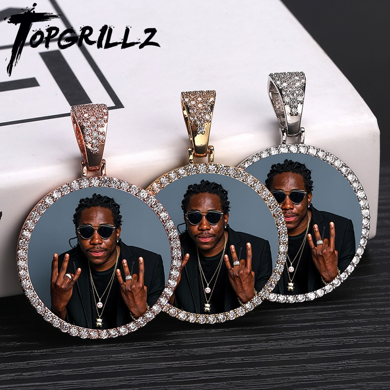 Custom Photo Memory Medallions Solid Pendant Necklace With Tennis Chain Hip Hop Jewelry Personalized Cubic Zircon Chains Gift 925 sterling silver custom pendant necklace diy photo engraving necklace custom personalized gifts drop shipping ylq0845
