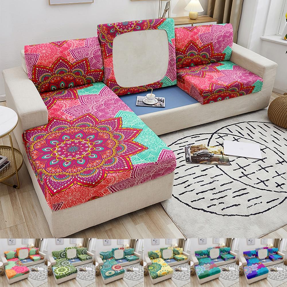 Эластичный чехол для дивана, чехол для дивана с принтом мандалы, чехол для кресла, чехол для гостиной, угловой чехол для дивана, чехол для под... чехол