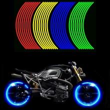 16 sztuk uniwersalny wodoodporny motocykl obręczy koła odblaskowe naklejki Moto rowerów naklejka 17 '/18' dla Honda YAMAHA SUZUKI