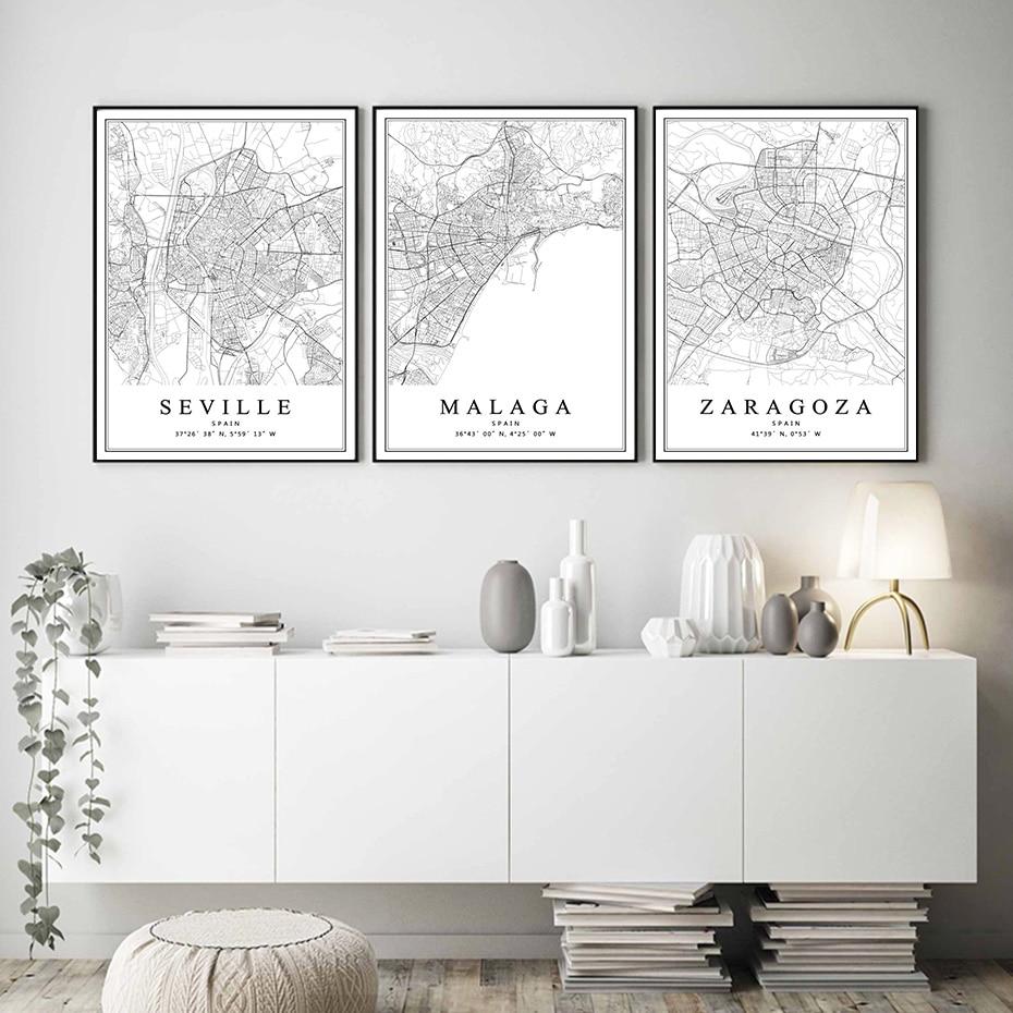 Cuadro en lienzo con mapa de la ciudad de España, cuadro de...