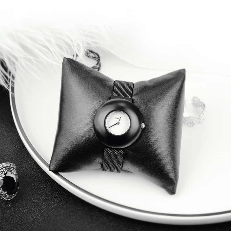 2019 Ladies gift a little black watch Enmex simple design leather  brief face black plating quartz fashion wristwatch enlarge