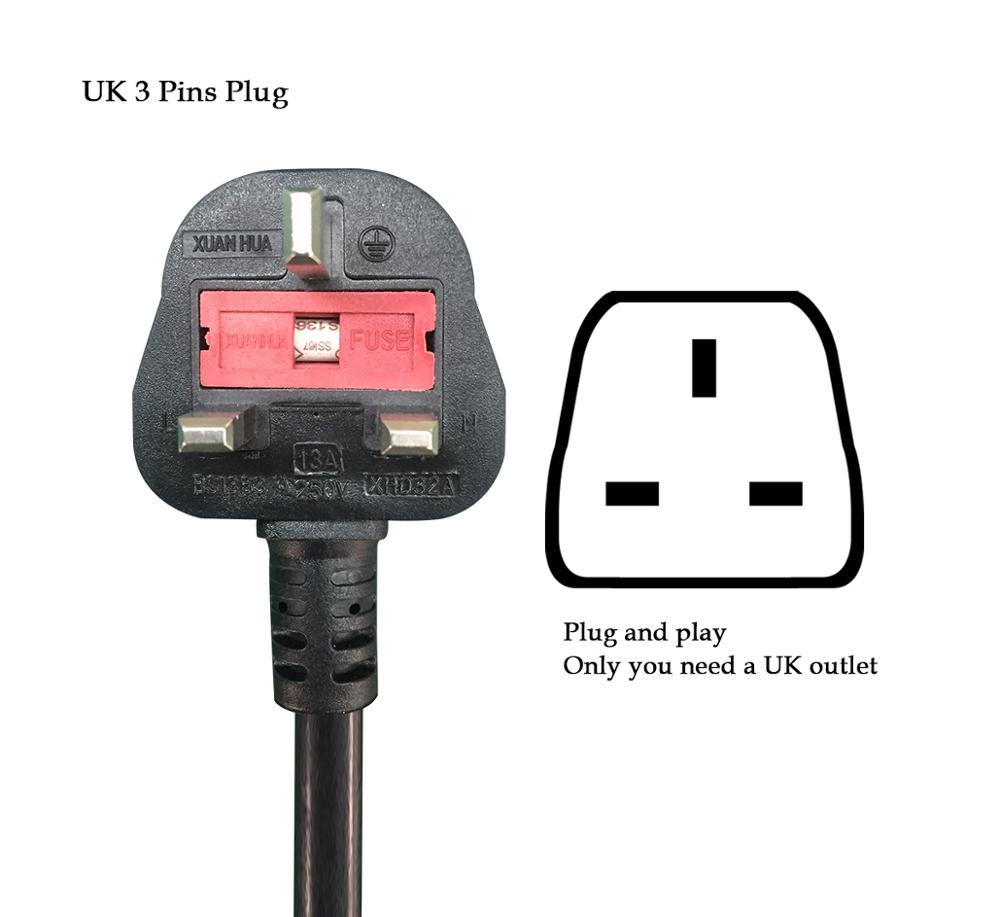 YKS-ESNES EVSE  Portable EV Charger IEC62196 13A  UK 3 Pins Plug  5M  Type2 enlarge
