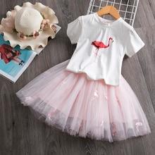 New 3-8 Year Kids Baby Girl Clothes Print Cartoon Flamingo Princess Dresses Little Girls Tutu Party Wedding Summer Dress Easter
