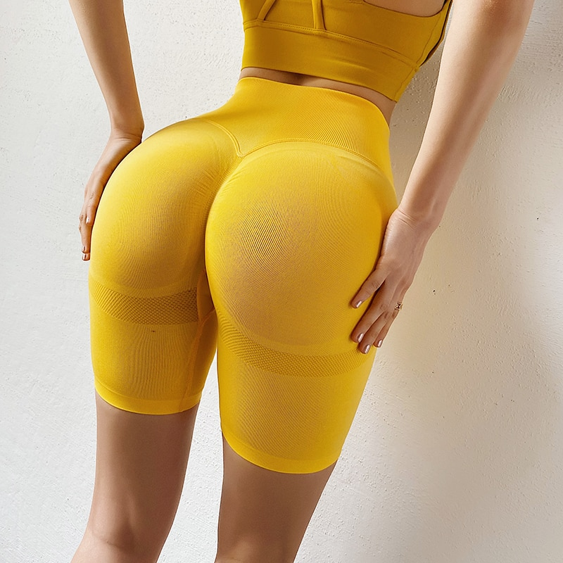 CHRLEISURE Sporty Women Shorts Printing Seamless Cycling Shorts Fitness Push Up Women Short Casual Short High Waist Booty Shorts