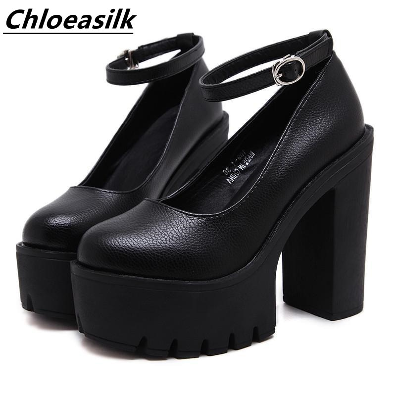Spring And Autumn Platform Casual High-Heeled Shoes Fashion Thick Heel Banquet Stage Model Hollow Se