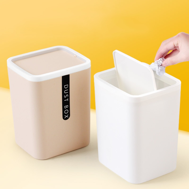 Creative Mini Small Waste Bin Desktop Basket Garbage Home Table Plastic Office Supplies Trash Can Dustbin Sundries Barrel Boxes