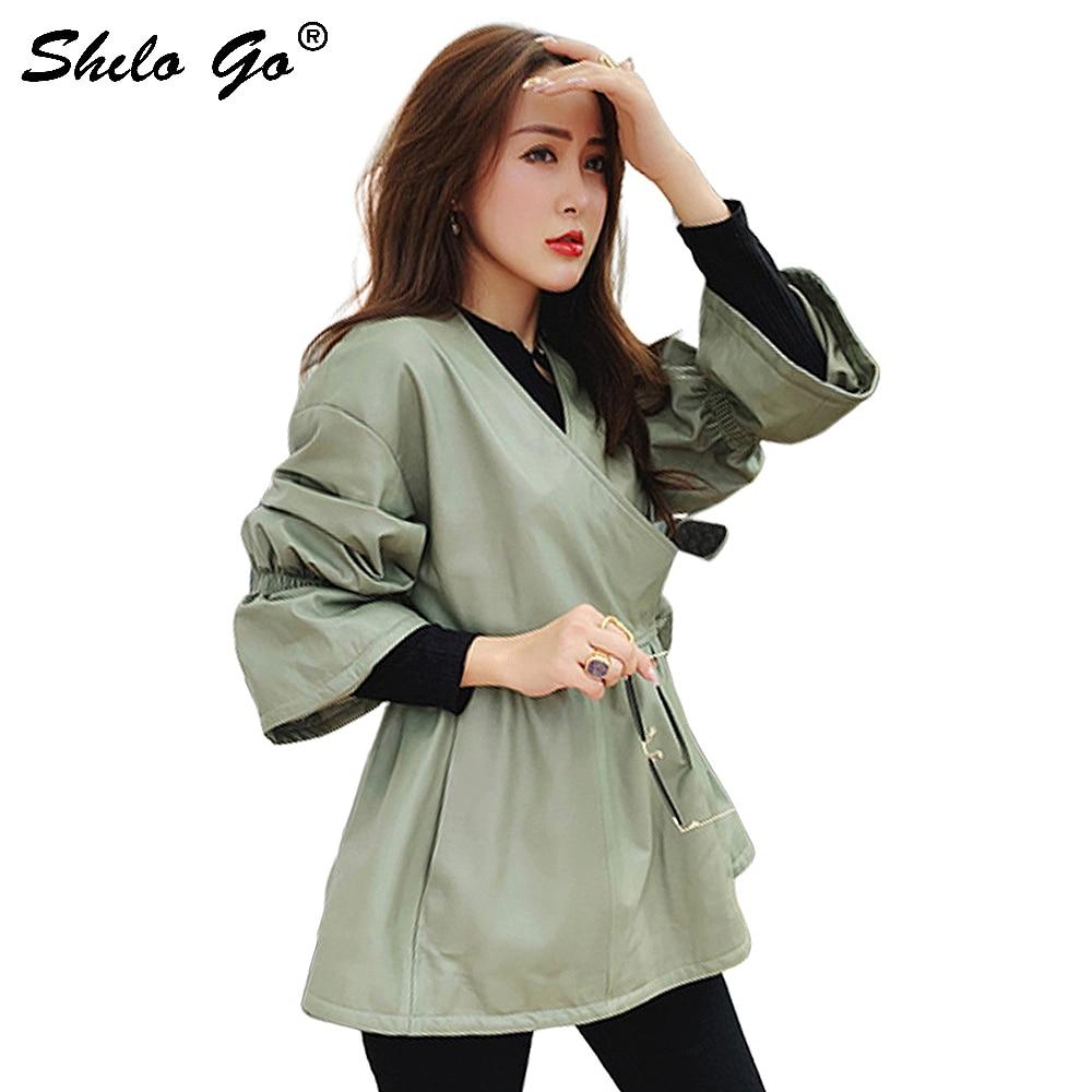 Gabardina de cuero genuino elegante Slef Wrop Belted Flare Sleeve abrigo mujer otoño Casual bolsillo lateral Fit y Flare A Line prendas