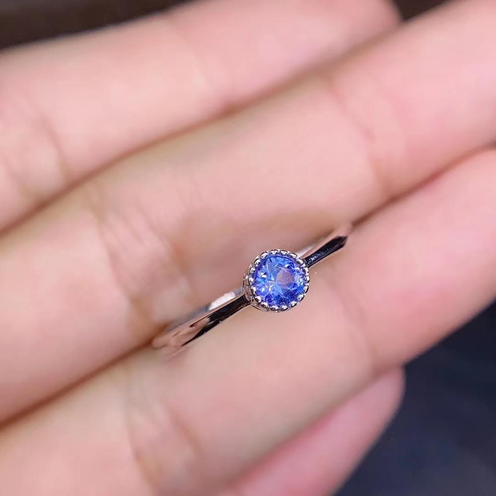 Elegante exquisito sol redondo flor tanzanita azul Natural piedra anillo de piedras preciosas naturales S925 de plata de las mujeres chica joyería de fiesta