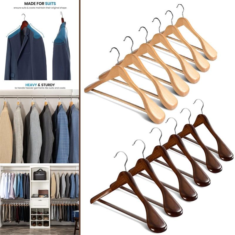 6 قطعة شماعات خشبية الكتف واسعة مع شريط السراويل عدم الانزلاق للملابس معطف الملابس دعوى F2