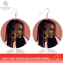 SOMESOOR pintado negro Hiphop chica Locs aros de madera gota pendientes pelo africano Natural Afro joyería de madera para mujeres regalos 1 par