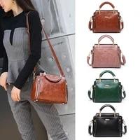retro women bag oil wax crossbody shoulder bag womens leather handbags luxury lady handbag women messenger bags mini square bag