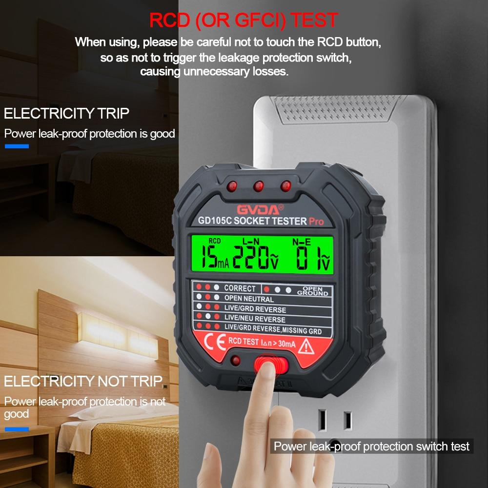 GVDA Socket Outlet Tester Voltage Detector Electric Circuit Breaker Finder Ground Zero Line US EU UK Plug Polarity Phase Check
