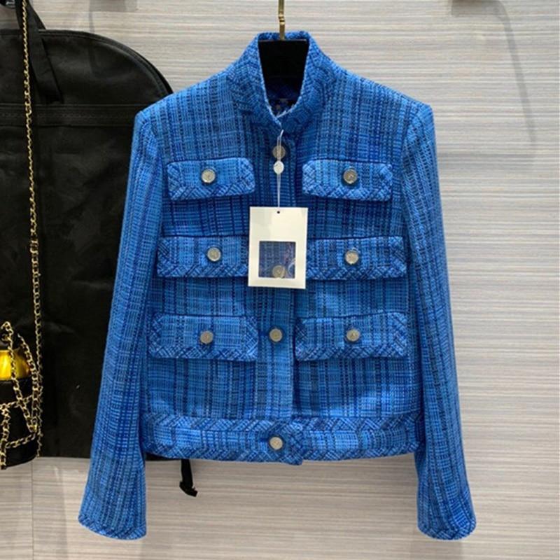 Женская одежда в европейском и американском стиле, лето 2020, новый стиль, длинный рукав, воротник-стойка, однобортное модное синее клетчатое ...